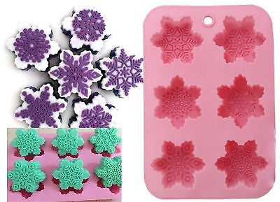 Snowflakes Silicone Soap Tray Mould (6 Cavity)