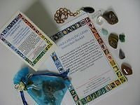 Chakra Healing Kit with 7 gems, pendulum, booket
