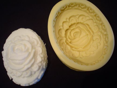 Rose Covered Oval Silicone Mould
