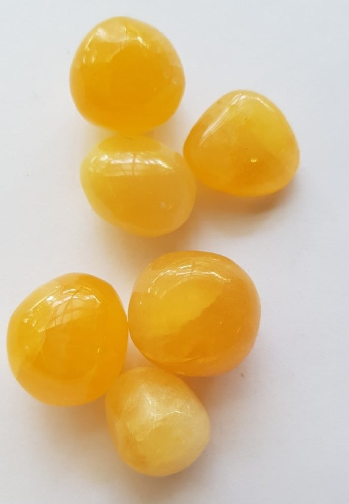 Yellow Calcite Glossy Tumbled Polished Gemstone Specimen 3 x Pieces