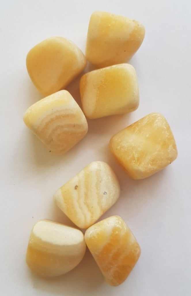 Yellow Calcite Banded Tumbled Polished Gemstone Specimen 4 x Pieces
