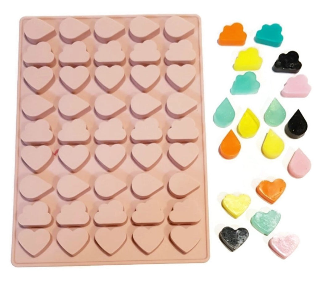 Cloud, Heart, Drip Raindrop 45 Cavity Silicone Mould