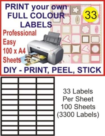 33 x 100 Address Mailing Label 70X25.4mm Peel + Stick
