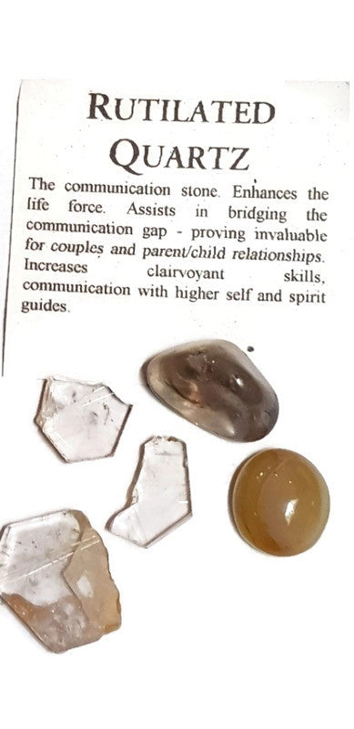 Rutilated Quartz Rough Gemstone Specimens