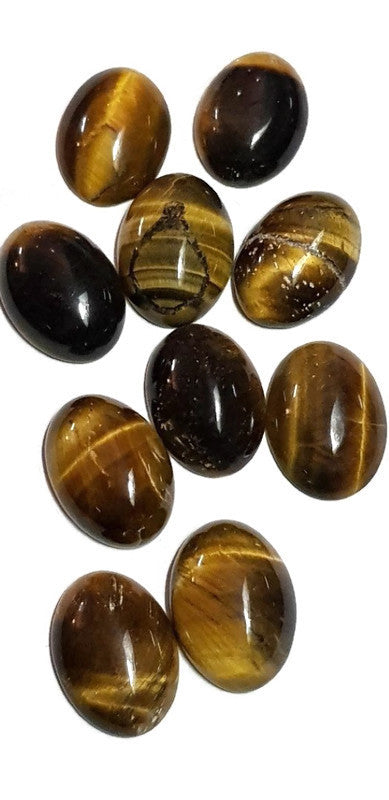 Tiger Eye Gemstone Cabachons x 10