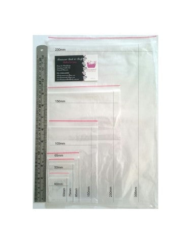 Self Seal Clear Zip Lock Plastic Bags 2 x 3in (50 x 75mm)