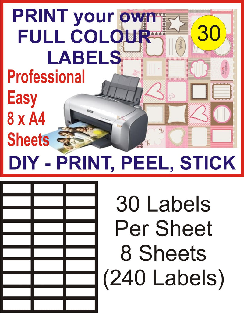 30 x 8 Sheets Address Mailing Label 64X26.7mm Peel + Stick (240 Labels)