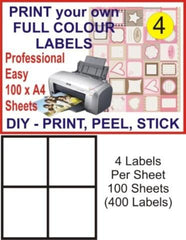 4 x 100 Address Mailing Label 105X148mm Peel + Stick