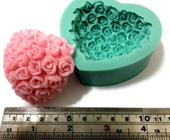 Rose Covered Heart Silicone Mould