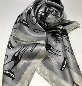 """Silver Cats"" 100% Silk Scarf"