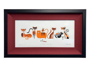 """Cocktail Cats III"" Framed Print"