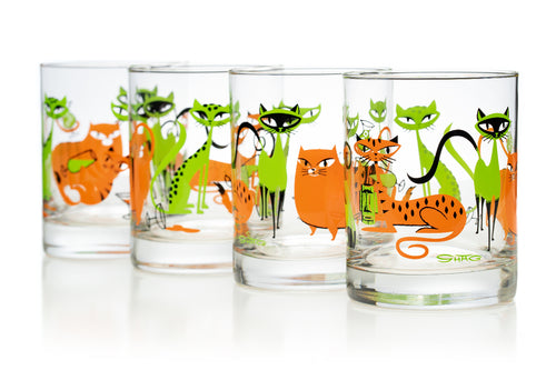 """Kitty Cocktail Party"" Old Fashioned Glass Set 