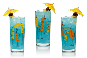 """Worry Birds"" Highball Glass Set 