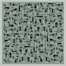 "Load image into Gallery viewer, ""Silver Cats"" 100% Silk Scarf"