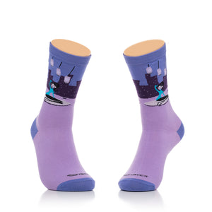 """Violet Skyline"" Women's Crew Socks"