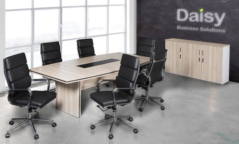 Pearl Boardroom Table (Coimbra) Alaska Black Chairs