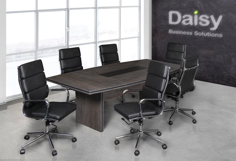Pearl Boardroom Table (Cadbury Oak) Alaska Black Chairs