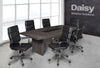Image of Pearl Boardroom Table (Cadbury Oak) Alaska Black Chairs