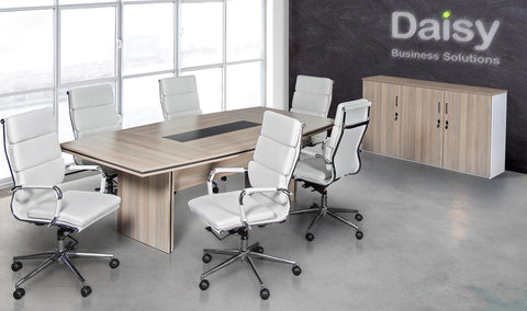 Pearl Boardroom Table (Coimbra) Alaska White Chairs