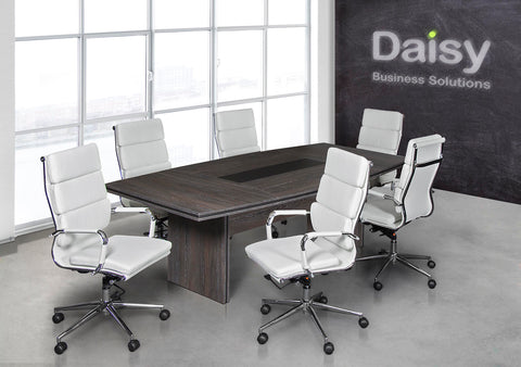 Pearl Boardroom Table (Cadbury Oak) Alaska White Chairs