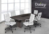 Image of Pearl Boardroom Table (Cadbury Oak) Alaska White Chairs