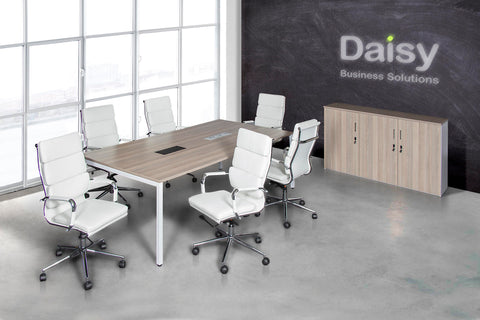 Boardroom Benching Solution Alaska White Chairs