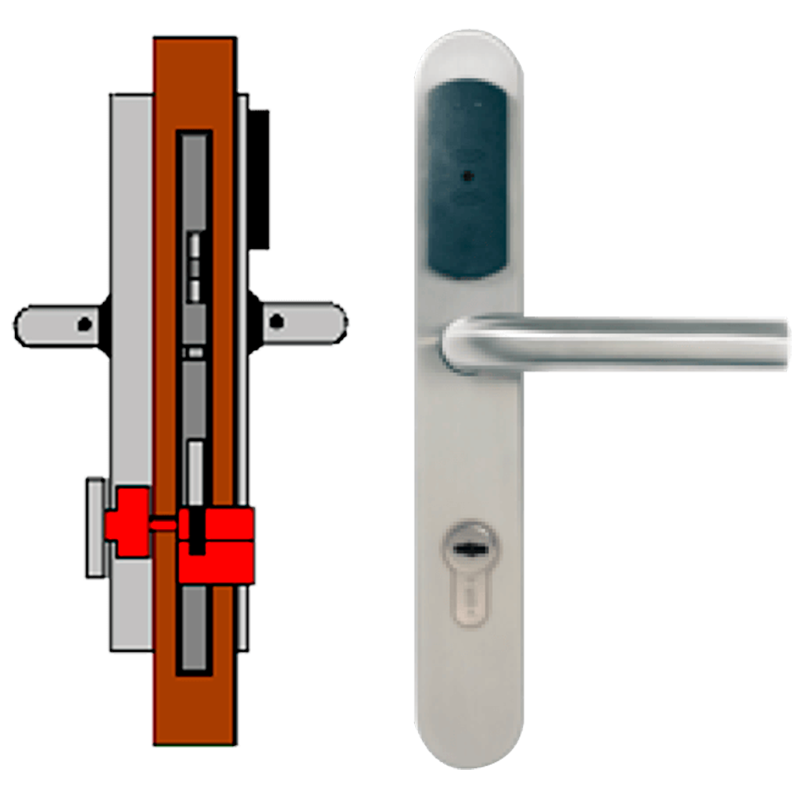 Manilla OFF-LINE TESA® SMARTair™ L8V (Update On Card) con Privacidad Elec. & Mec. (IP55)//OFF-LINE (Update On Card) TESA® SMARTair™ Escutcheon L8V with Elec. & Mech. Privacy (IP55)