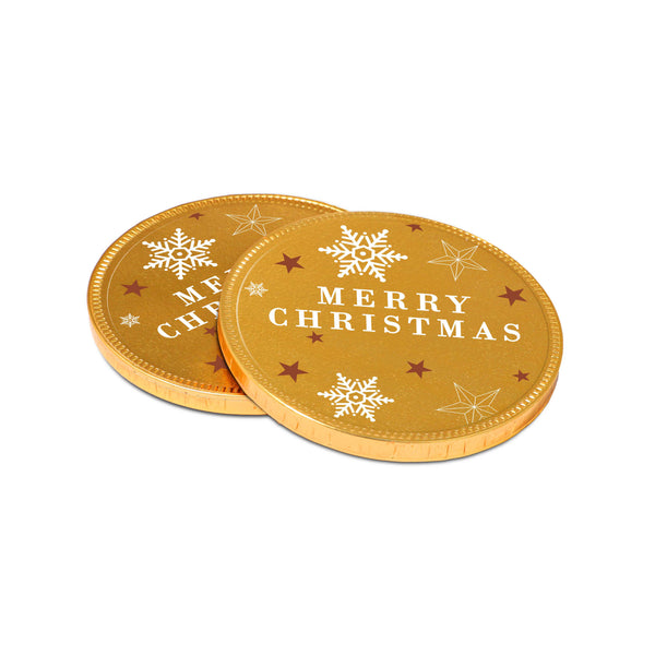 Our new chocolate Medallions join our Winter Collection this year. This 100mm promotional chocolate coin is covered in gold foil and branded with a clear vinyl sticker that allows you to incorporate the golden festive design into your branding. This is a great promotional giveaway, especially for the festive season.
