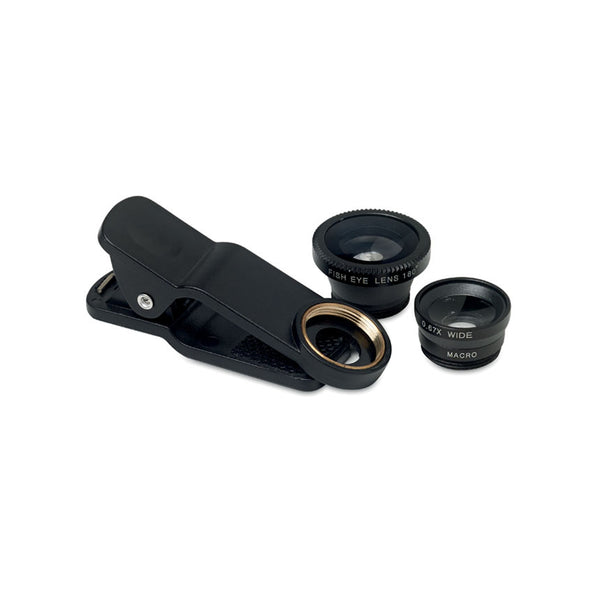This promotional phone camera lens set can be branded with a 1 colour print either to the camera clip or carry bag. This set includes a macro, fish eye and wide angle lens