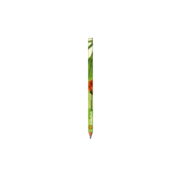 This eco friendly promotional pencil features 360º photo quality full colour imprint on a wood-free pencil in synthetic resin, material made with 54% recycled material, that will not splinter in the event of breaking. Resistant HB grade lead. With your full colour company design printed, this will really catch the eye
