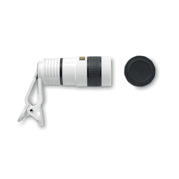 This promotional phone camera lens can be branded with a 1 colour print to the lens.  This is a telescopic lens and comes with a cap for protection