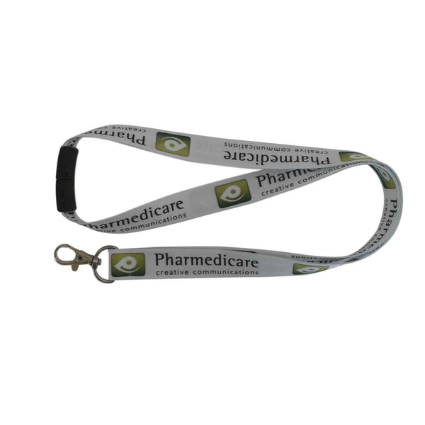 This promotional 20mm lanyard is branded with a full colour dye sublimation print to both sides. This lanyard is provided with a safety break and dog clip as standard