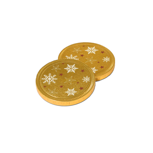 Our new chocolate Medallions join our Winter Collection this year. This 38mm promotional chocolate coin is covered in gold foil and branded with a clear vinyl sticker that allows you to incorporate the golden festive design into your branding. This is a great promotional giveaway, especially for the festive season.