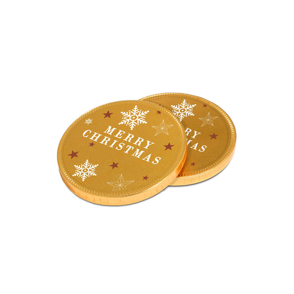 Our new chocolate Medallions join our Winter Collection this year. This 75mm promotional chocolate coin is covered in gold foil and branded with a clear vinyl sticker that allows you to incorporate the golden festive design into your branding. This is a great promotional giveaway, especially for the festive season.