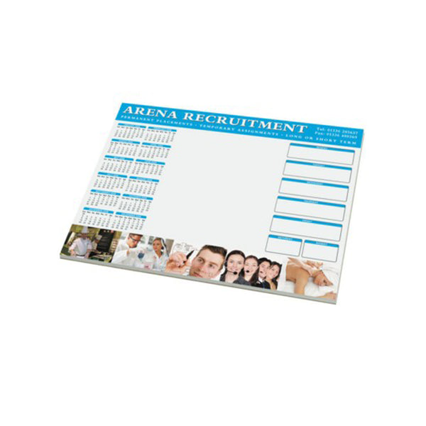 promotional a3 notebpad. Branded full colour to each page. Contains 50 sheets of white paper