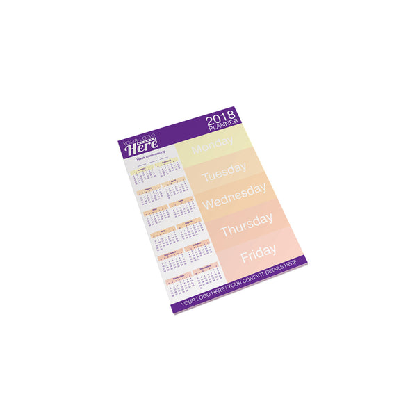 A4 Desk-Mate contains white 80gsm paper, glued to a standard backboard. Notepad can be printed full colour
