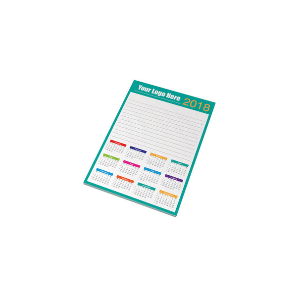 This A5 promotional notepad contains 50 sheets of white 80gsm paper. This notepad can be branded full colour to each page