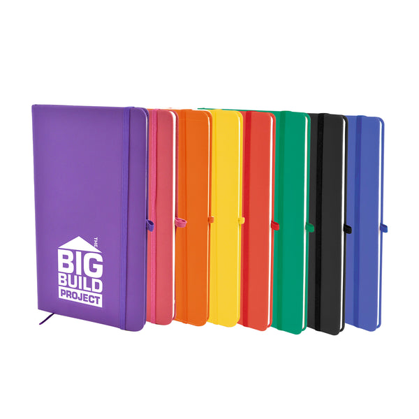 This A6 Mole Note Book is finished in soft PU and contains 80 lined pages, a bookmark, pen loop and elastic closure. available in a range of colours