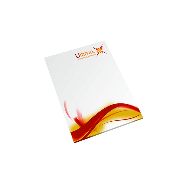 A7 sized promotional notepad contains 25 or 50 pages. branded full colour per page
