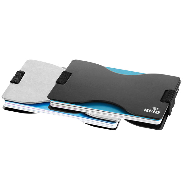 This promotional RFID card holder is branded with your logo laser engraved and blocks contactless payment signals. Available in silver and black