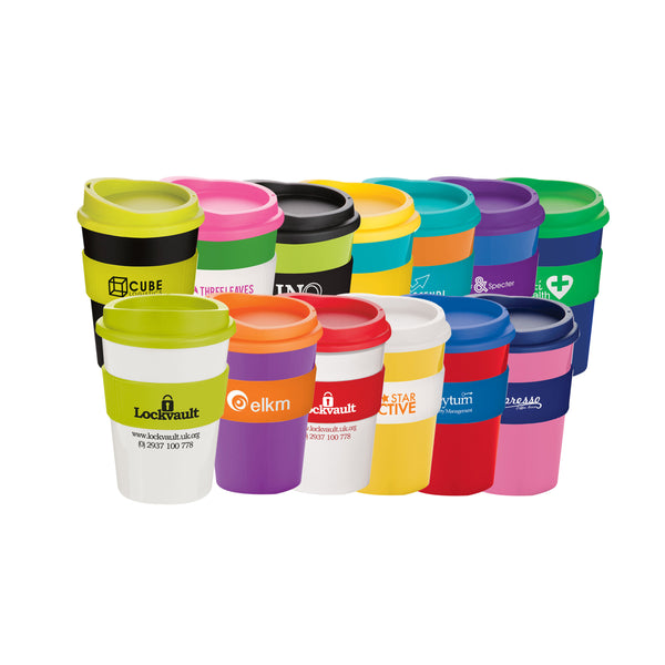This promotional travel mug can be branded with a 1 colour print to the silicone grip or body of the mug, or printed to both. This promotional coffee cup has a 300ml capacity and comes with a clip on lid