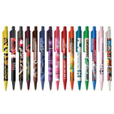 This promotional pen can be branded with a full colour logo around the barrel is is available in 15 different trim colours