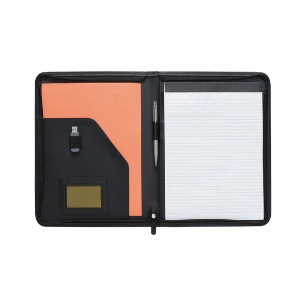 This promotional A4 Zipped Folder is all you'll ever need for taking documents to meetings and events.This promotional zipped budget A4 folder made from lightly grained REACH compliant PVC. This promotional product also features a USB holder, pen loop and 20 page recycled lined paper notepad.
