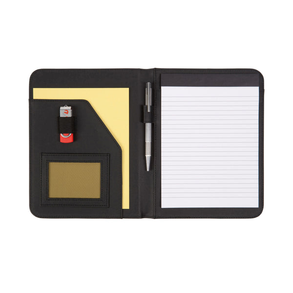 This promotional A5 Zipped Folder is all you'll ever need for taking documents to meetings and events.This promotional zipped budget A5 folder made from lightly grained REACH compliant PVC. This promotional product also features a USB holder, pen loop and 20 page recycled lined paper notepad.
