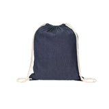 This promotional drawstring bag is made from all natural, environmentally friendly, 8oz denim coloured cotton fibre and features natural coloured draw cords.