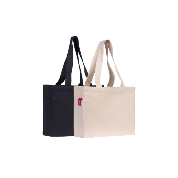 This durable canvas tote/shopper bag is ideal for shows & exhibitions. Made from all natural environmentally friendly 10oz cotton canvas (310gsm) and features a side pocket & natural cotton webbing handles.