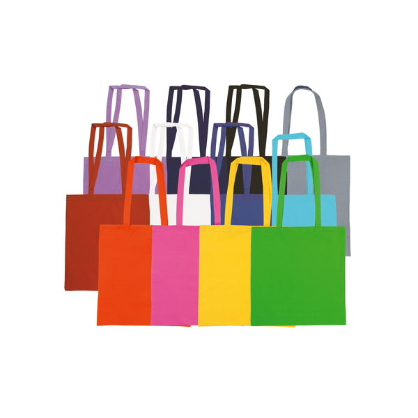 This promotional bag is made from 105gsm Cotton Canvas and features long colour matched handles.