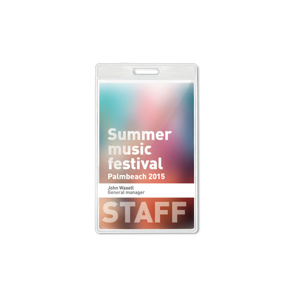 This promotional badge sleeve can be used with the 15mm and 20mm lanyards and can be used to hold event or ID passes. This badge holder is available plain stock or branded with a 1 colour print to 1 position