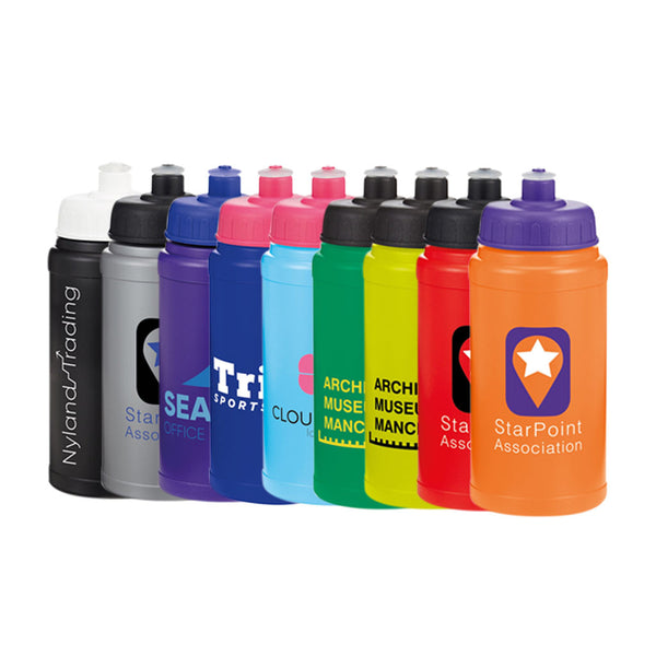 This promotional water bottle is branded with a 1 colour print and is available in a range of colours