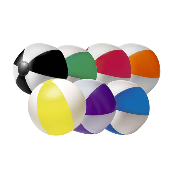 This promotional beach ball can be branded with a 1 colour print and comes in a range of bright colours